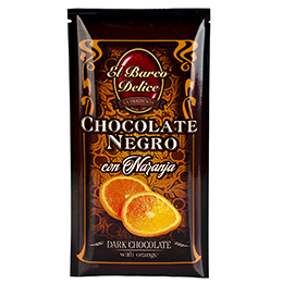 CHOCOLATE NEGRO 70% CACAO, CON NARANJA. Chocolates